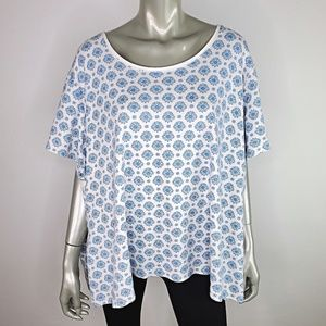 Basic Editions Womens Floral Top Plus Size 4X